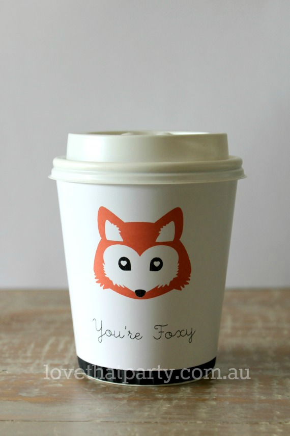 "FREE PRINTABLE ""You're Foxy"" coffee cup wrapfor the caffine lover in your life. What a cute surprise! www.lovethatparty.com.au"