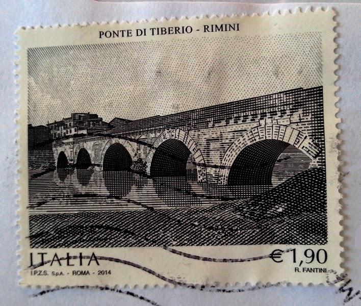 francobollo Ponte di Tiberio in Rimini