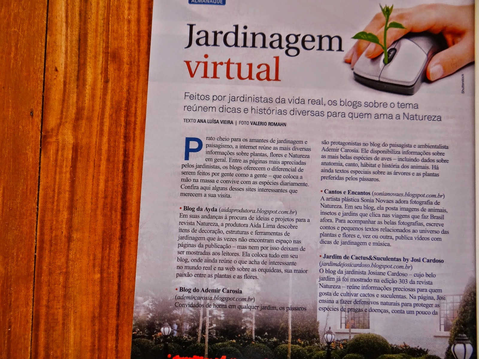 BLOG É DESTAQUE NA REVISTA NATUREZA DE ABRIL 2014