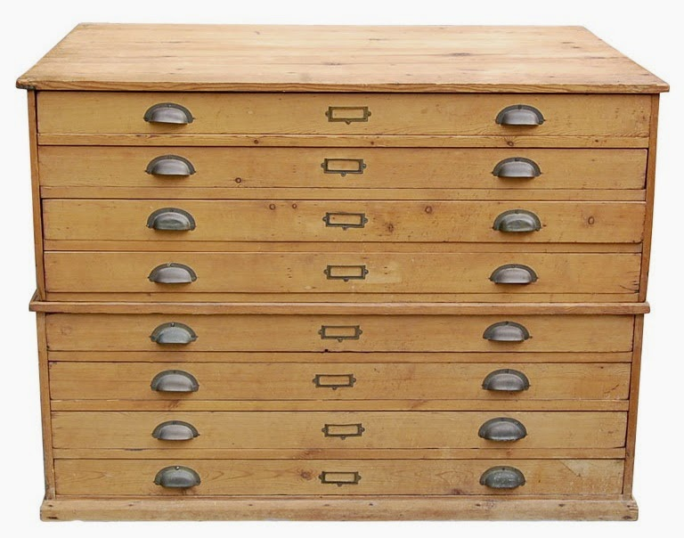 Wooden flat file cabinet