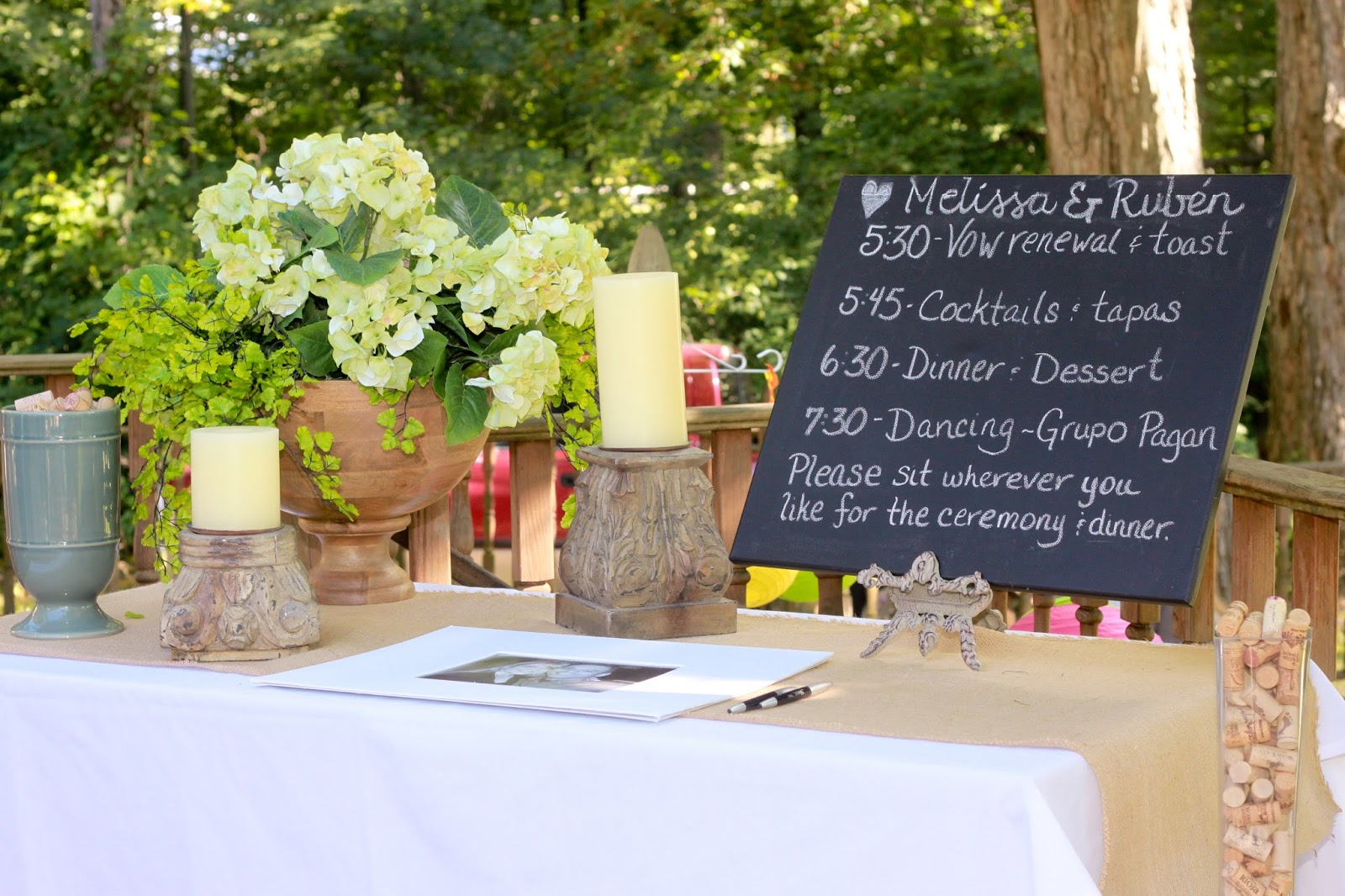 Casual Backyard Wedding Ceremony : Fans were given to keep guests cool in the August sun and doubled as a
