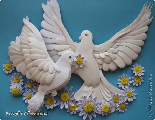 Объемная открытка голуби - Голубь из бумаги Страна Мастеров