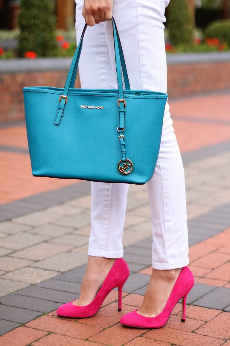 pink suede heels, zara stripy top, white jeans, michael kors bag, jestset bag, galina thomas, fashion blogger birmingham, dolce and gabana sun glasses, autumn outfit