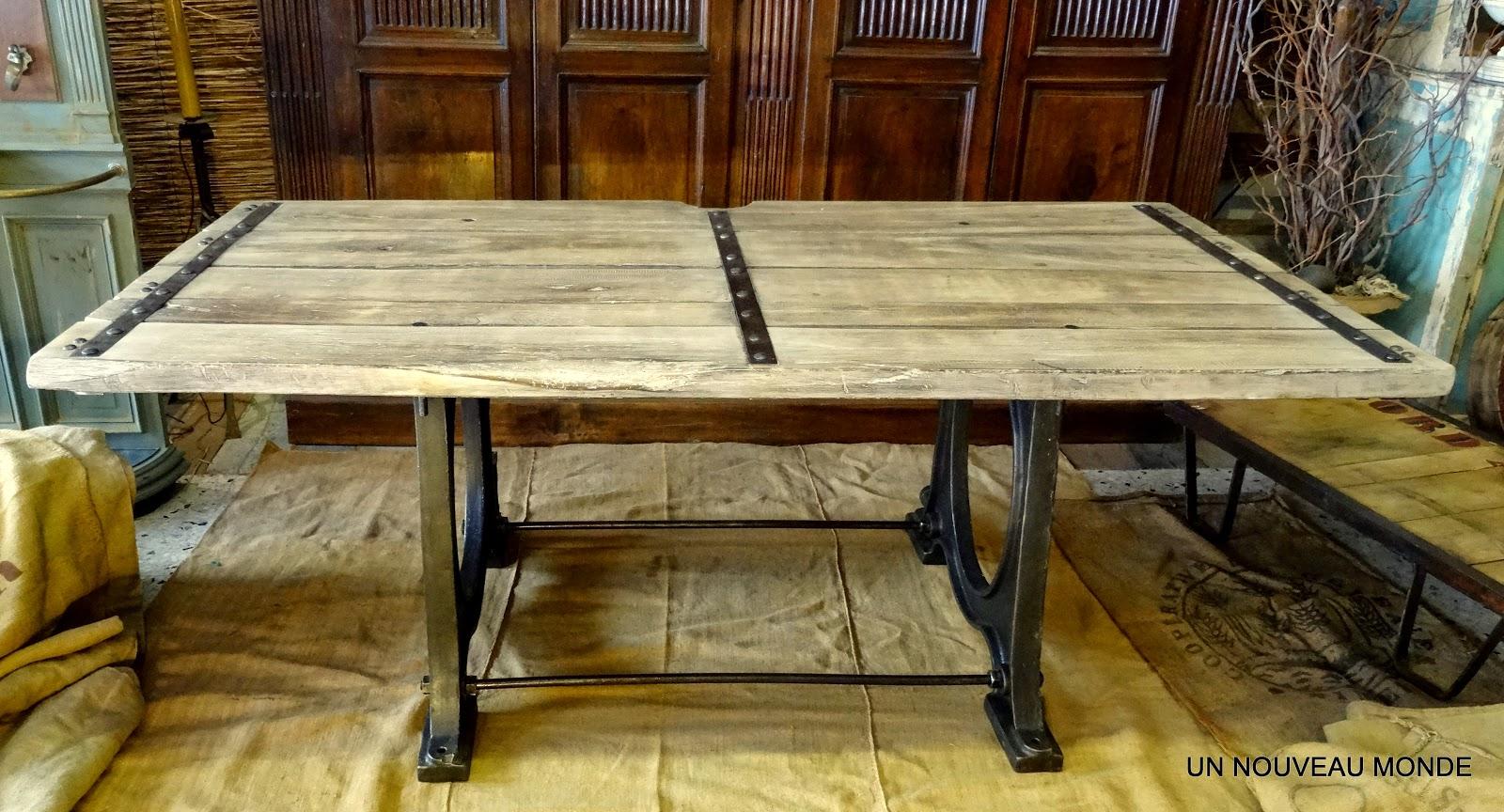 Brocante d coration un nouveau monde table industrielle bois et fonte - Brocante mobilier industriel ...