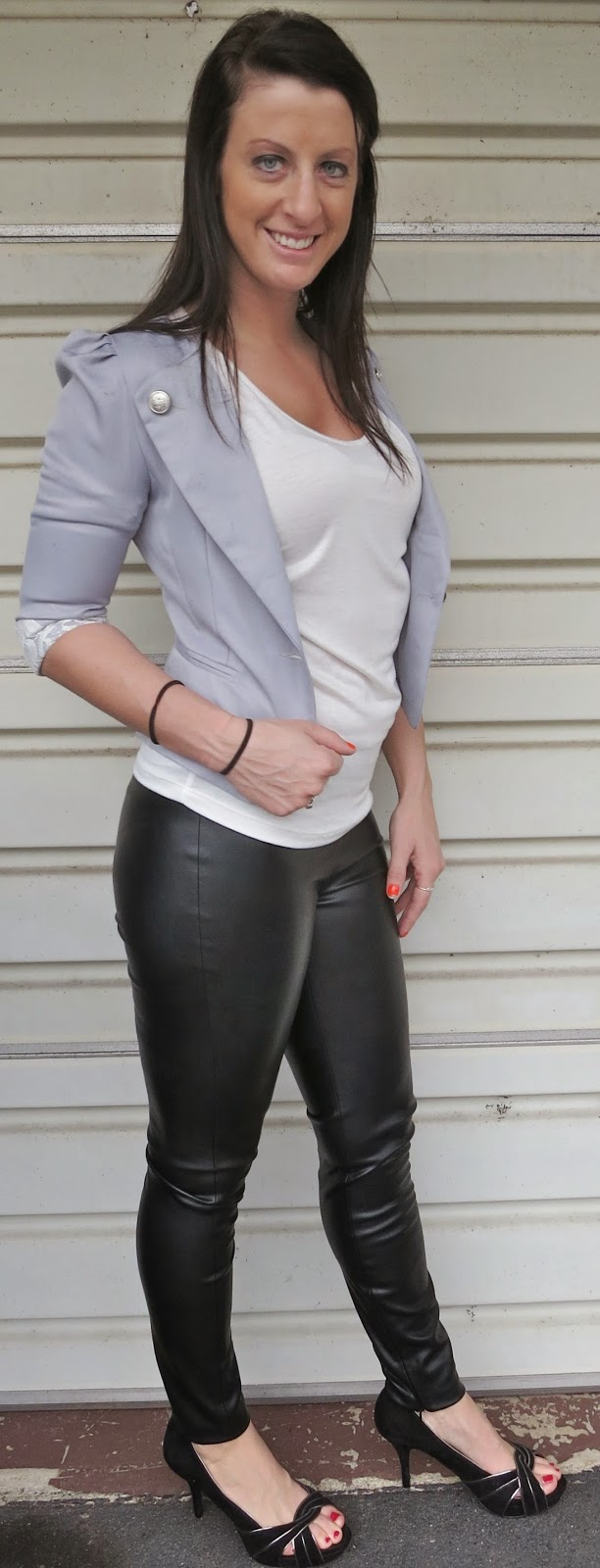leather pants, cropped blazer, outfit, fashion