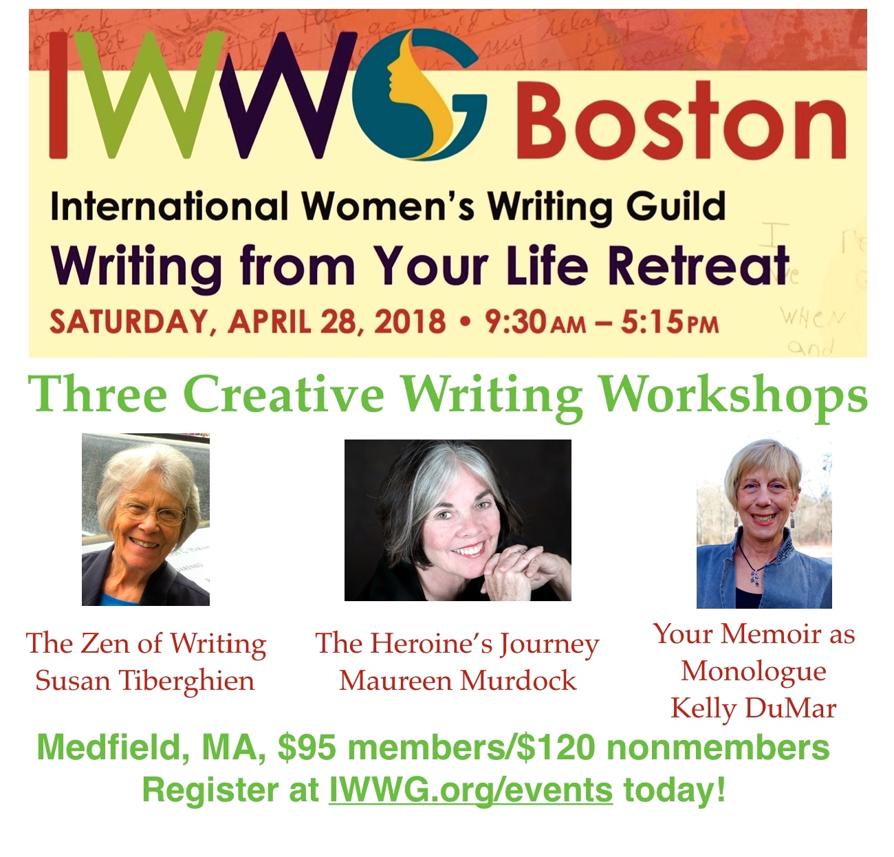 International Women's Writing Guild: Writing for Your Life Retreat--April 28, 2018!