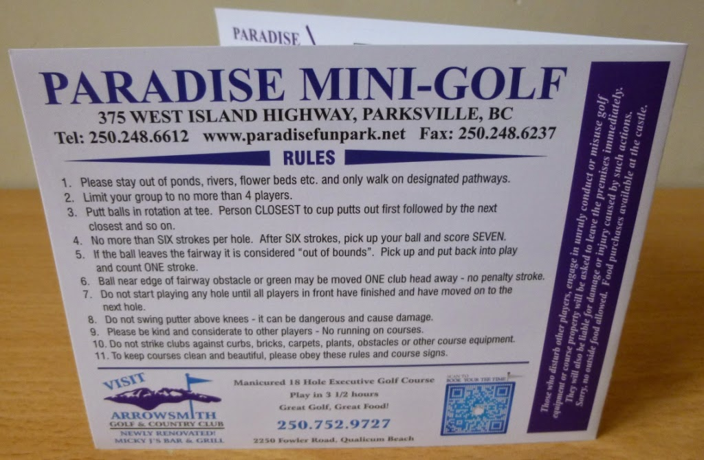 The rules for Paradise Mini-Golf