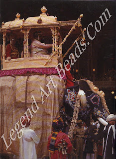 The Maharaja of Mysore, wearing a splendid array of ornaments, leads a religious procession in the city of Mysore, c. 1970, shortly before the government of India abolished the princes' privy purses.