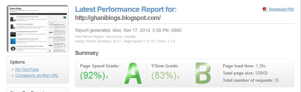 Cara Test Kecepatan Loading Blog
