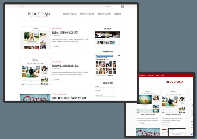 Wygląd bloga Blogopasja obecnie, oraz przed zmianą szablonu
