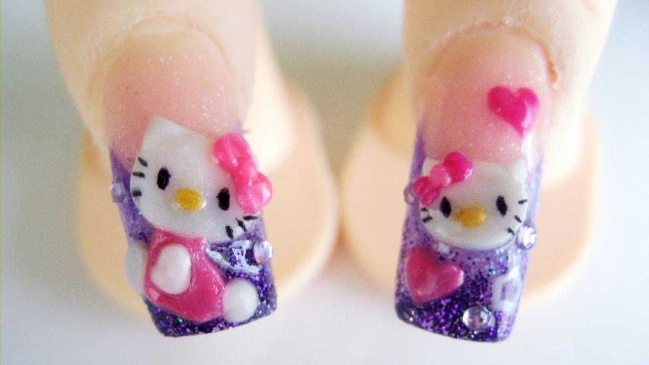 Hello Kitty diseño de uñas acrilicas 3D relieve glitter morada rosa