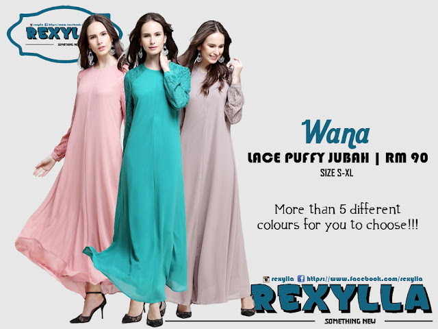rexylla, joint lace, puffy jubah, wana collection