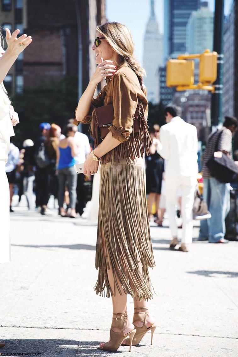 Olivia Palermo street style, fringe outfit, fashion week, street style