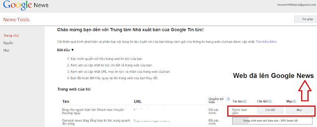 Kiểm tra đã lên Google News hay chưa