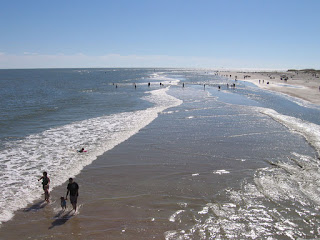 The beach at Tybee Island with the tide going out