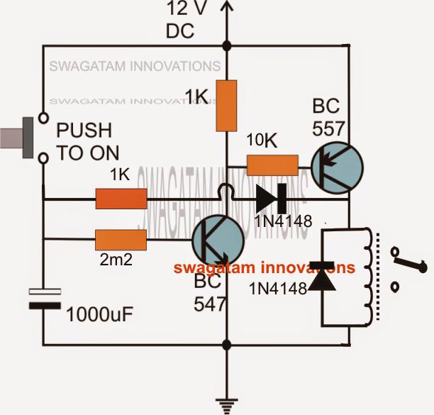Long duration timer circuit using transistors electronic for Transistor inverseur