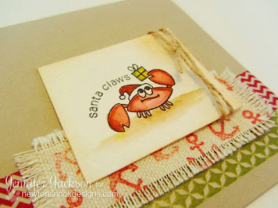 Santa Claws Crab Christmas Card using fabric stamping by Newton's Nook Designs