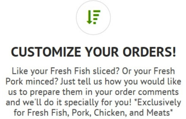 purelyfresh customizes your orders like fish meat