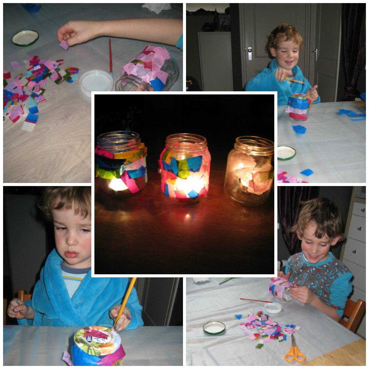 Lichtjes knutselen met zijdevloeipapier