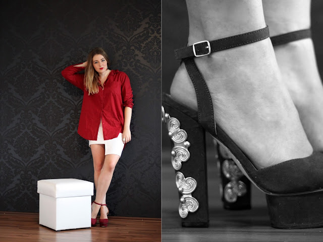 Burgundy, shirt, button down, asymmetrical hem skirt, white H&M Trend skirt, H&M Trend Stufen rock, fashionblogger, hamburg modeblogger, nelly.com heels,