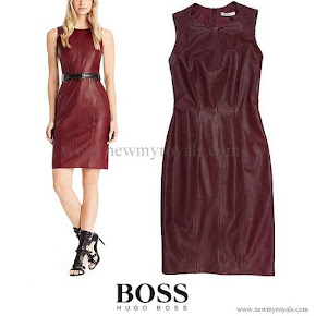 Queen Letizia Style HUGO BOSS leather sheath dress
