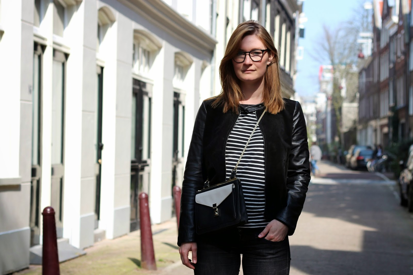 outfit inspiration leather jacket striped tee ace and tate glasses