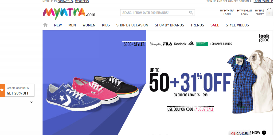 Myntra active discount coupons