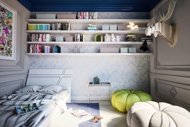 Dormitorios de adolescentes en azul y gris ideas para for Dormitorios pintados en gris