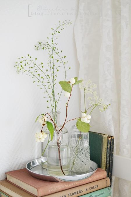 snowberries, Queen Anne's lace, shepherd's-purse, flowers in small bottels