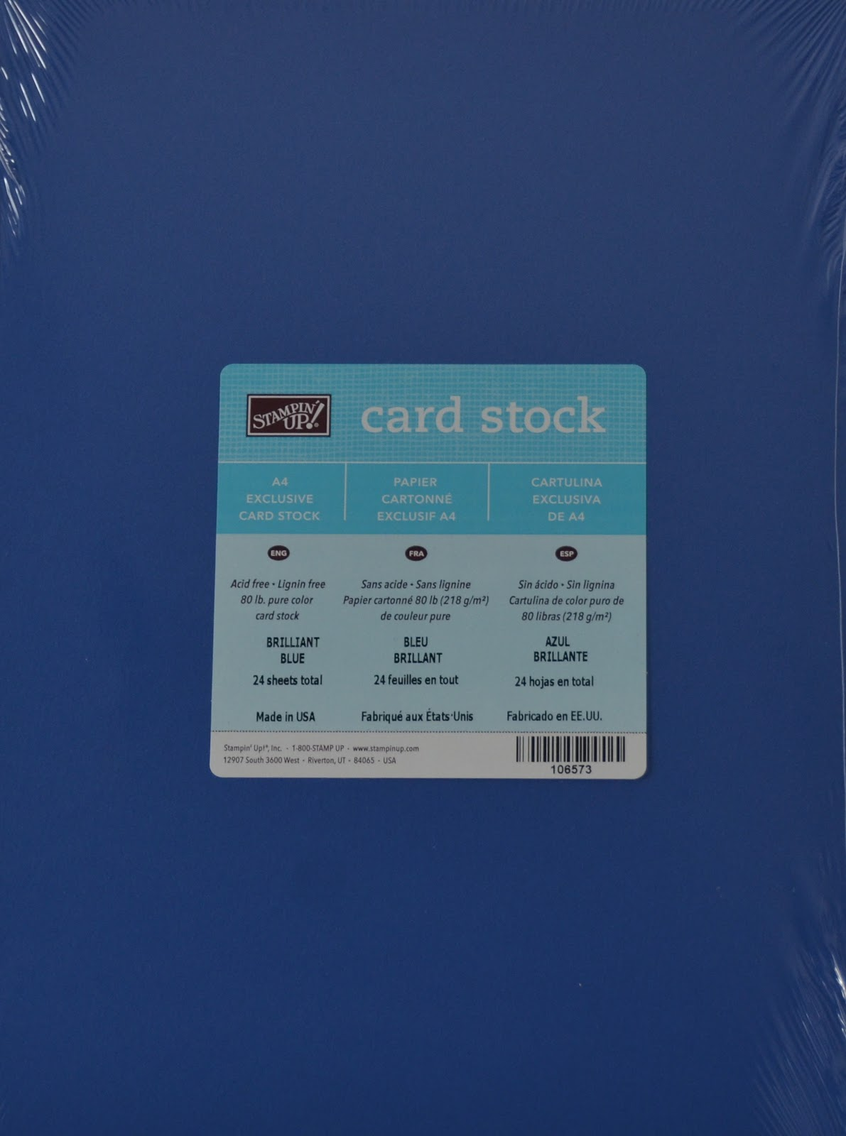 Brocade Blue Card Stock 24 Sheets New Sealed Stampin/' Up