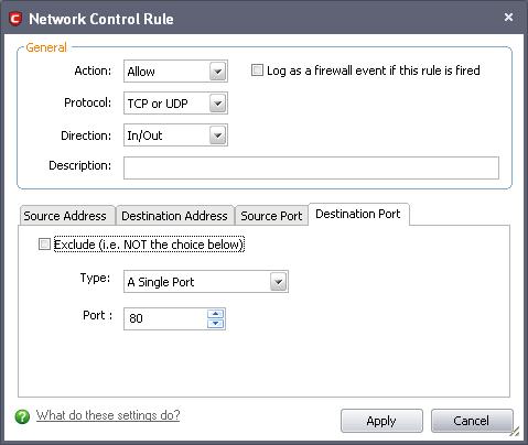 Как создать правило comodo firewall