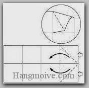 Bước 5: Từ vị trí mũi tên, mở hai lớp giấy trên cùng ra, kéo và gấp lớp giấy về bên trái.