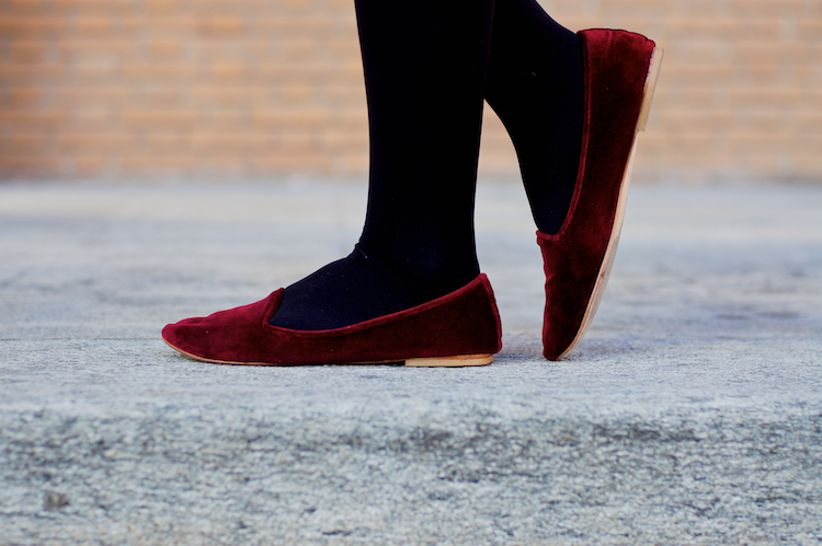 burgundy velvet loafers