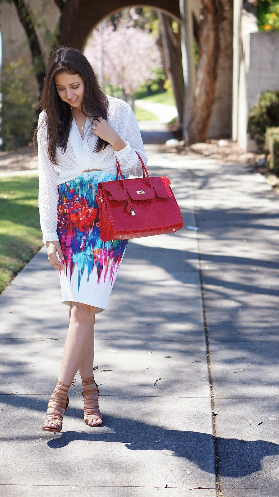 JCPenney skirt, Bisous Bisou Twist Blouse, Bisou Bisou Pencil Skirt, Bertie Bag, Vanilla Paris Bertie Bag Review, Hermes Inspired Bag, Shoemint Strappy Heels, Shoemint Marcelle Hee