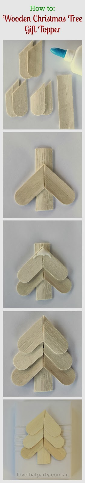 How to: Simple Scandinavian Style Wooden Christmas Tree Gift Topper. www.lovethatparty.com.au