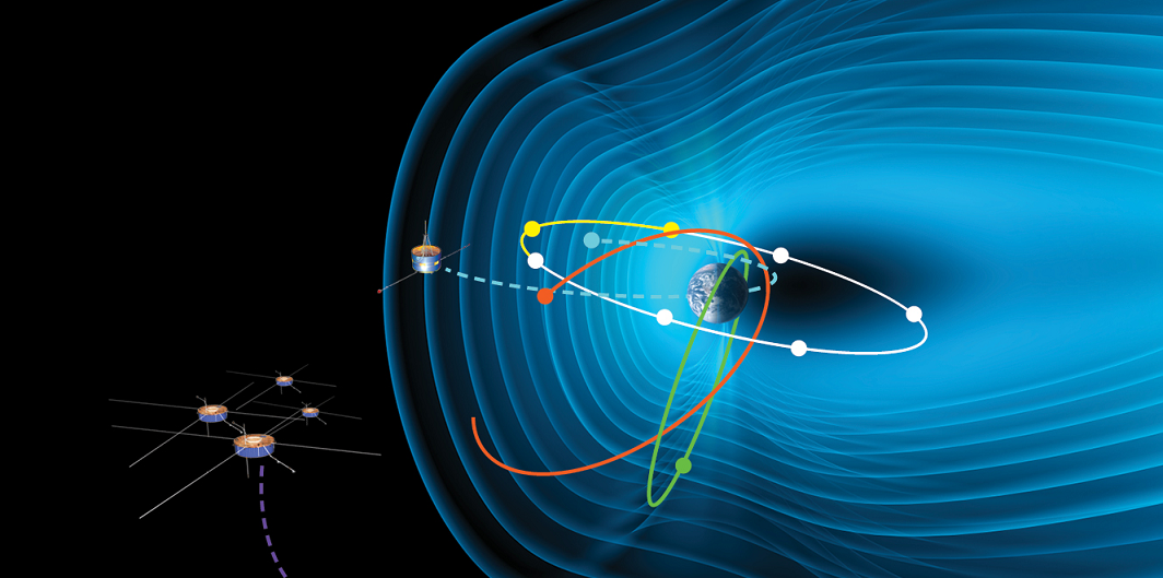 Twelve spacecraft in Earth's magnetosphere – in addition to other missions -- helped scientists better observe and understand an unusual January 2005 solar storm. The four Cluster spacecraft were in the solar wind, directly upstream of Earth. Picture not to scale. Image Credit: ESA