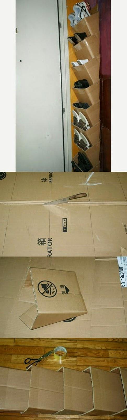 El mundo del reciclaje diy zapatero con cajas de cart n for Ideas para hacer un zapatero