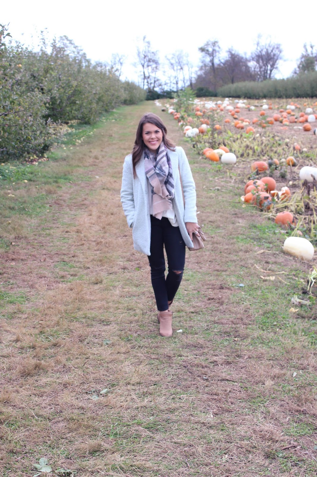 J. Crew Sweater + Forever21 Coat + Old Navy Jeans = Fall fashion at the pumpkin patch
