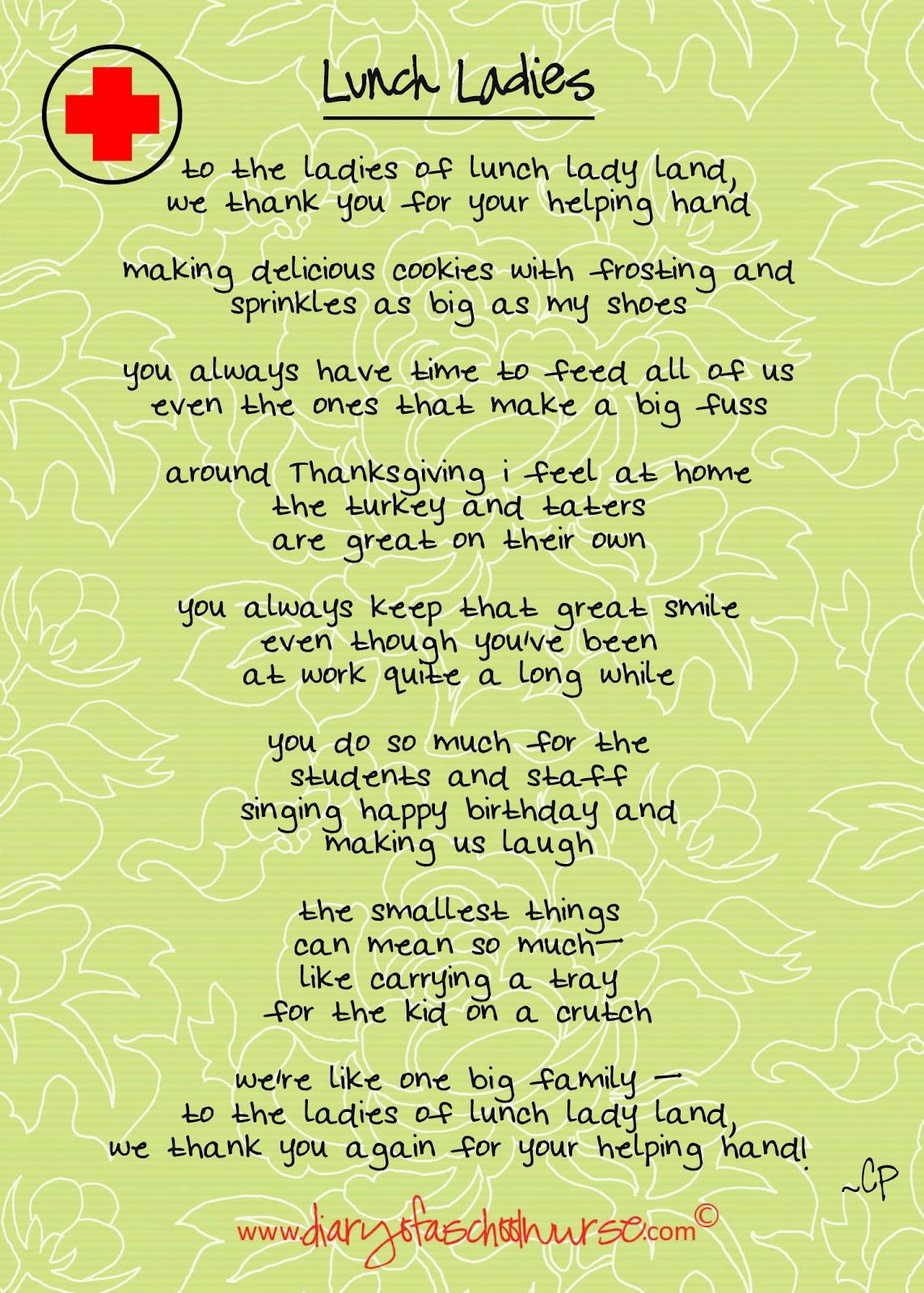 Lunch Lady Appreciation Poem. National Lunch Lady Day. View Original ...