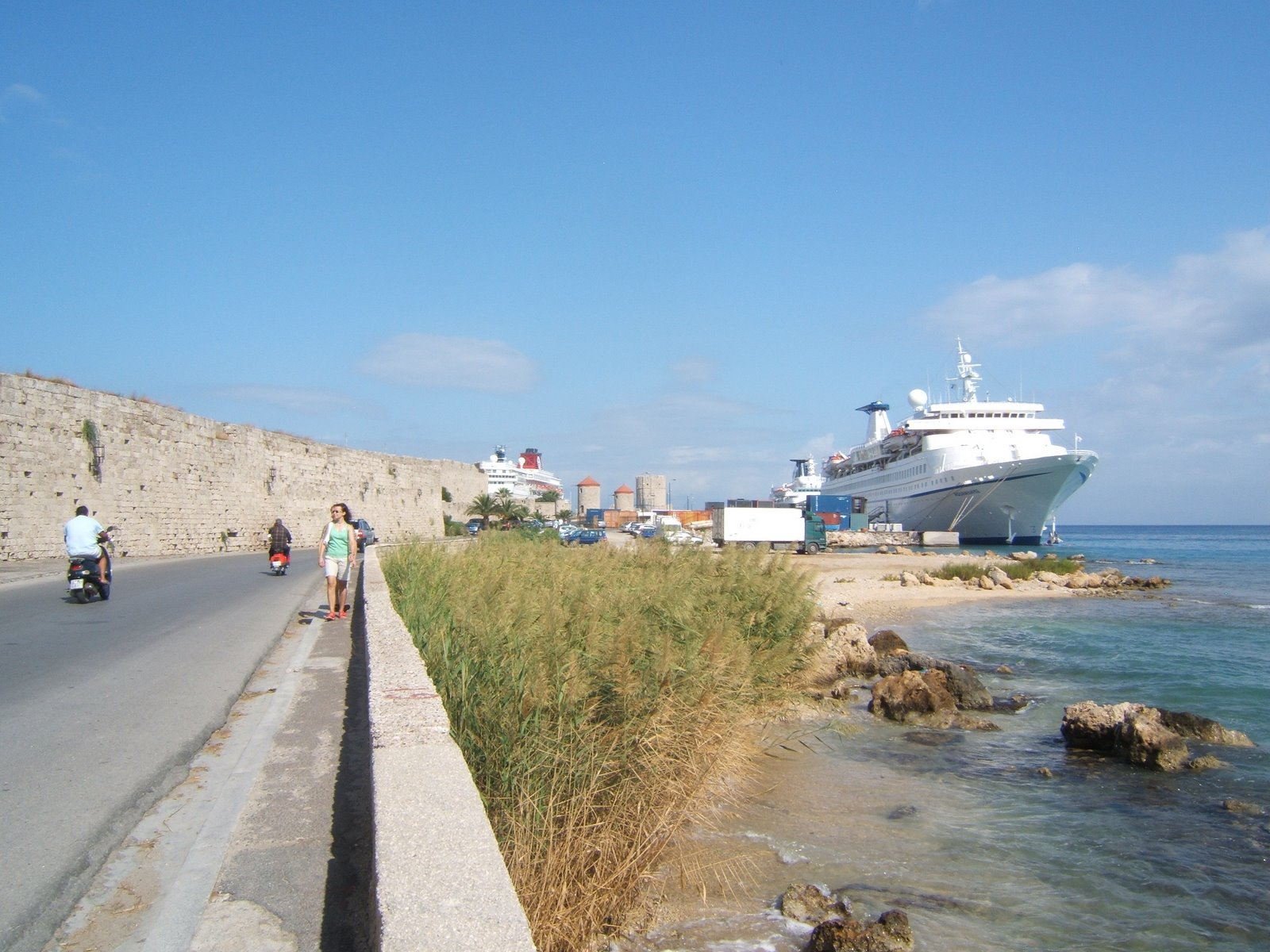 All the crowds are at this end of town.  Cruise ship outside the walls of Old Town, Rhodes-Greece © 2008 Tina M Welter
