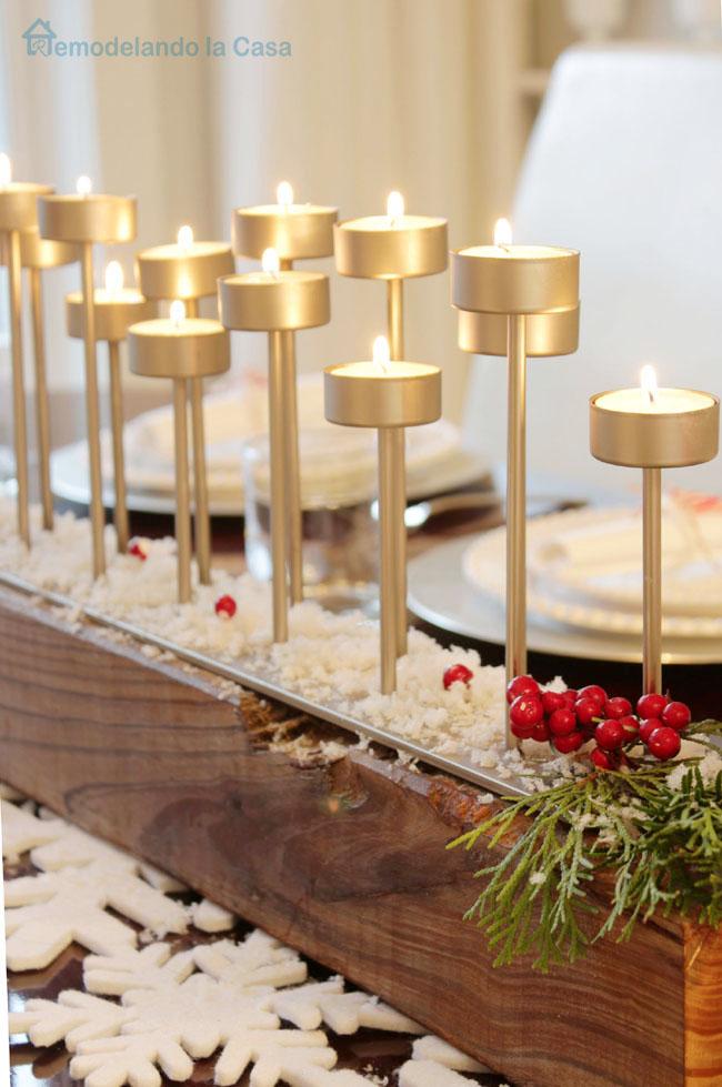 multi light votive candelabra on table