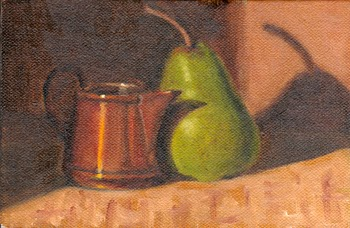 Oil painting of a small copper jug alongside a pear.
