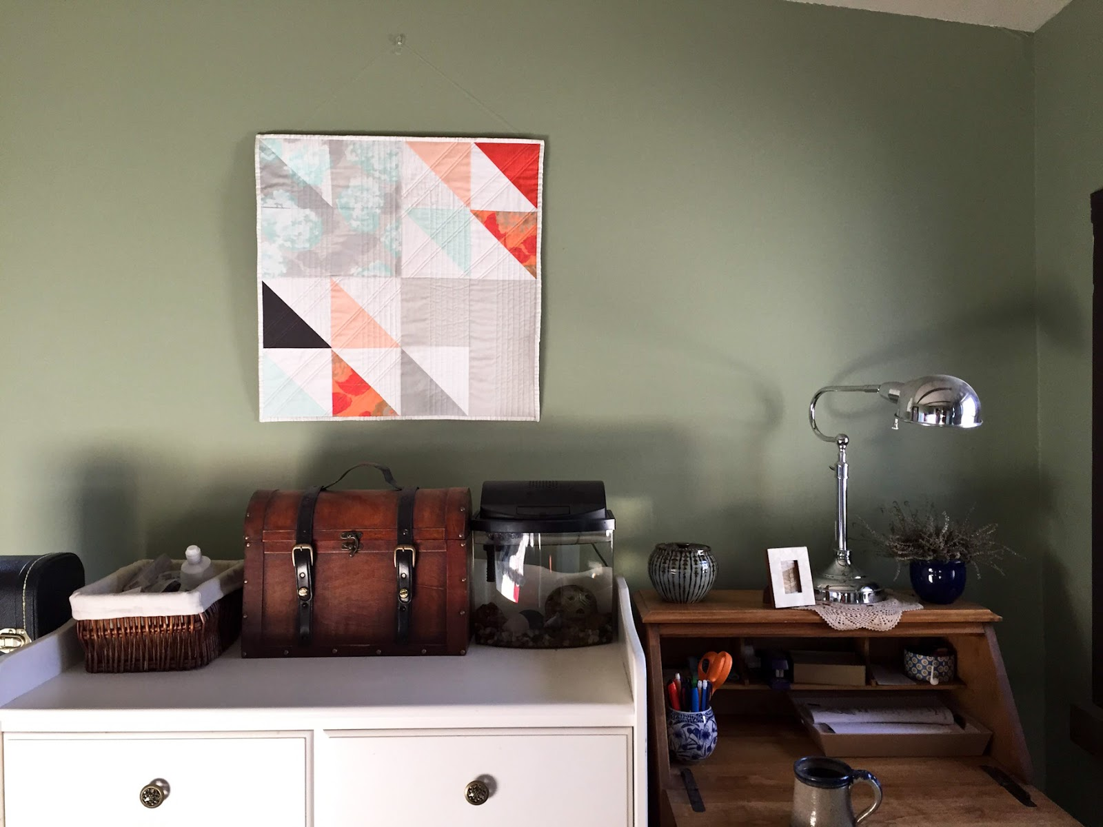 Fresh Starts mint and coral modern wall quilt living in its Wheaton home   by Lovely and Enough