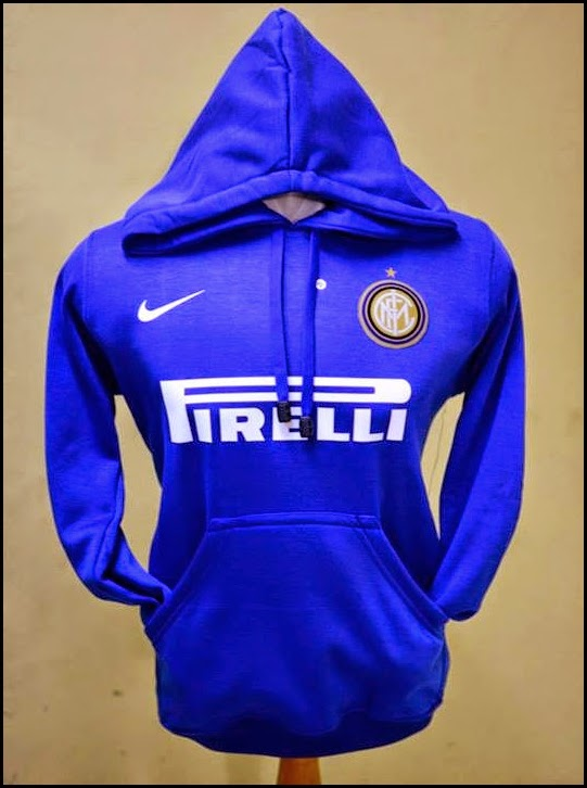 Jumper Hoodie Bola Polos (Satu Warna) - Inter Milan Biru