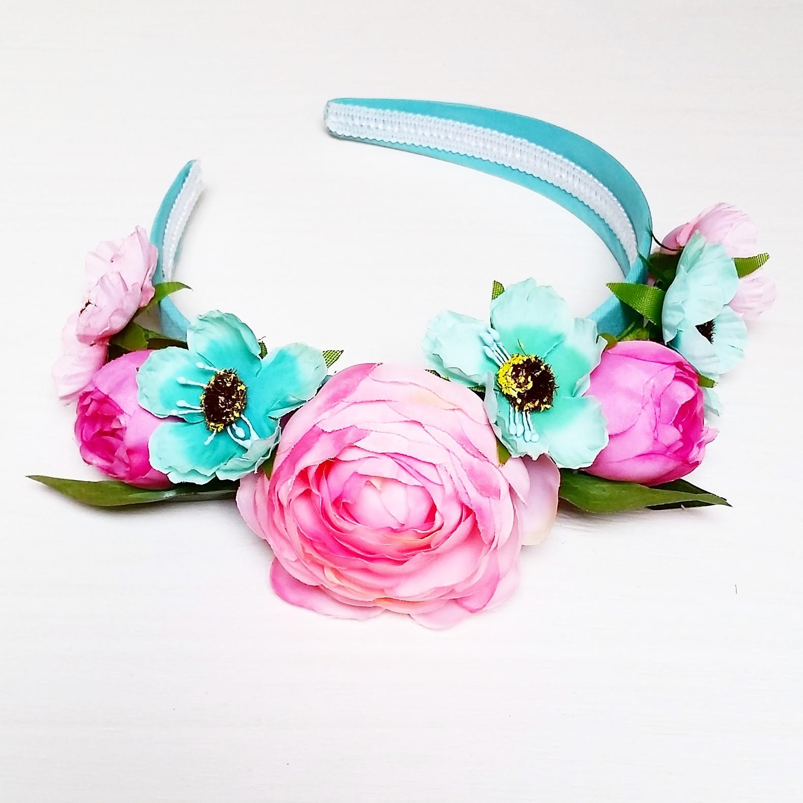 Ободок с искусственными цветами своими руками 109