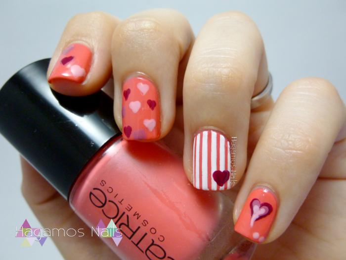 Nail Art Corazones #RetoPuntosMNA Hagamos Nails