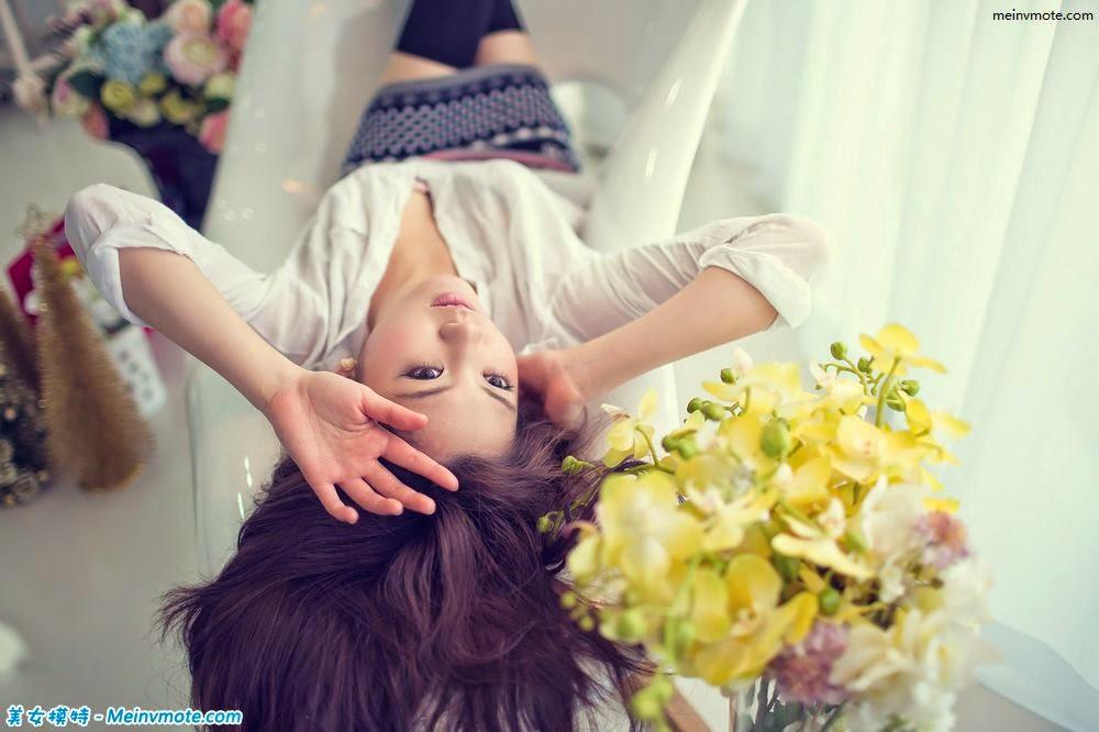 Flowers beautiful girl child