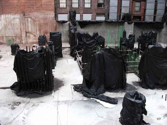 Covered steel rebars at 56 Leonard Street Construction Site, New York