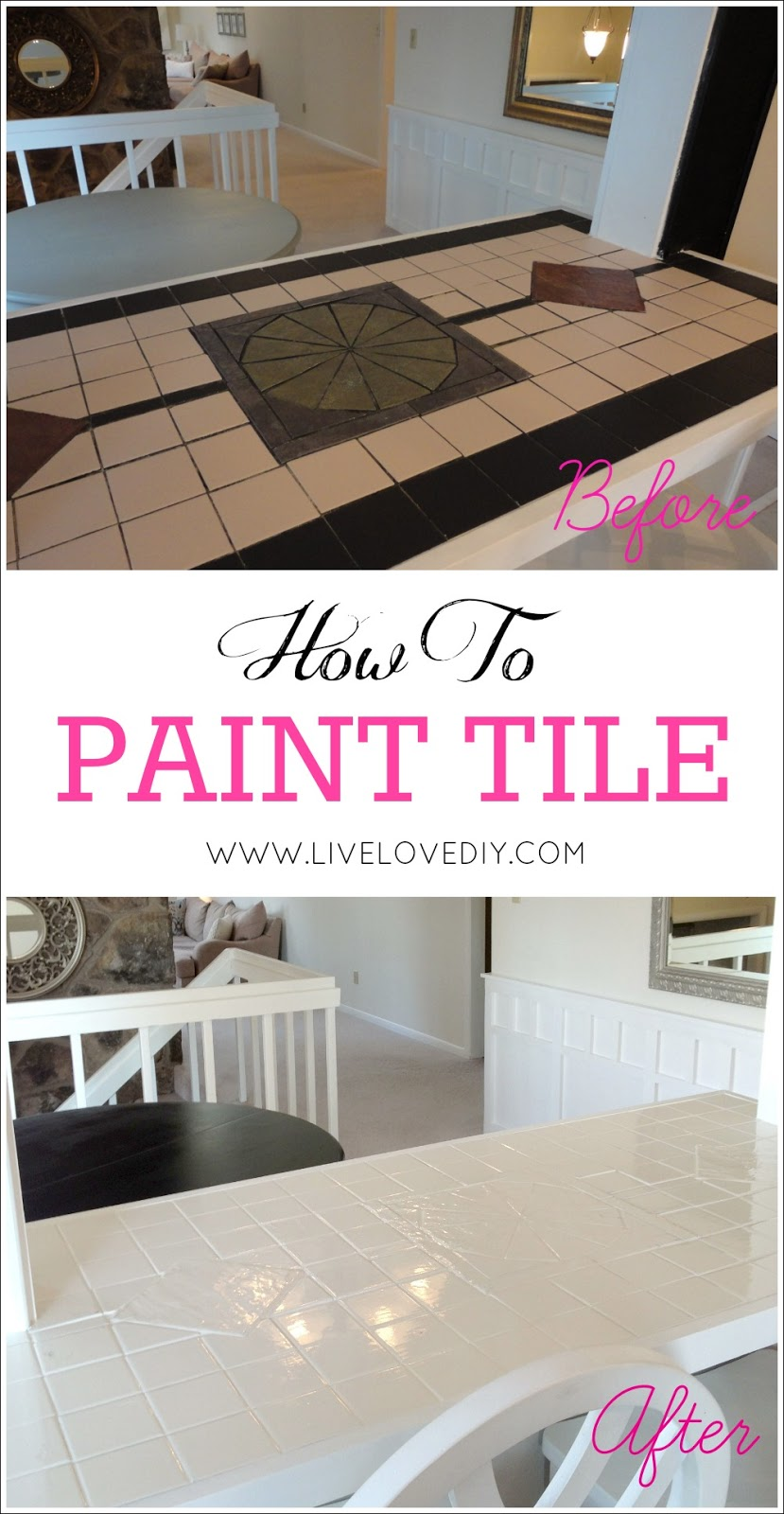 Livelovediy how to paint tile countertops how to paint tile countertops this is so great for outdated kitchens and bathrooms dailygadgetfo Choice Image