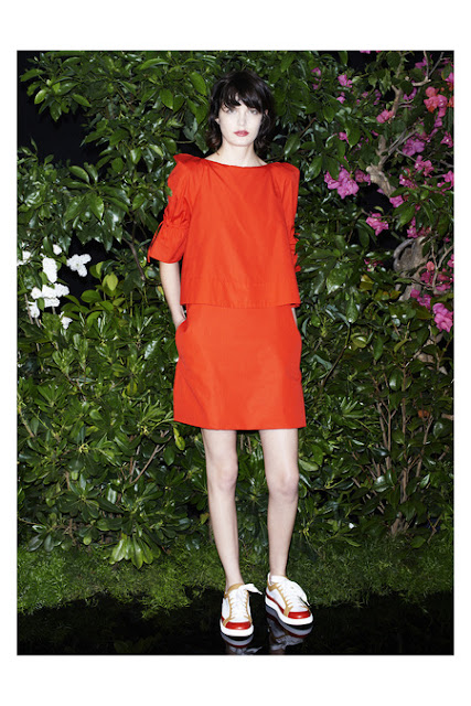See by Chloe, Resort 2014 orange dress with push-up sleeves. shiny sneakers